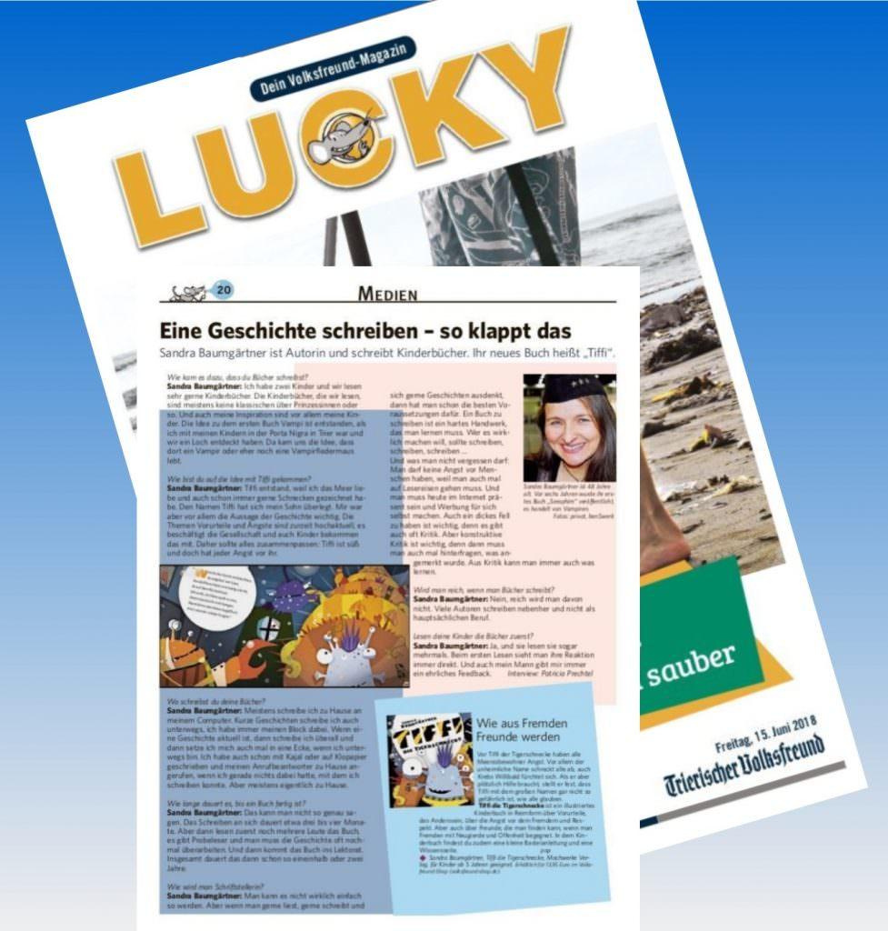 Zeitungsartikel über Tiffi im LUCKY Magazin des TV
